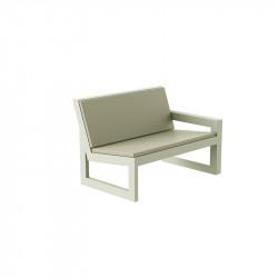 Module gauche pour salon de jardin design Frame, Vondom écru avec coussins en tissu Silvertex