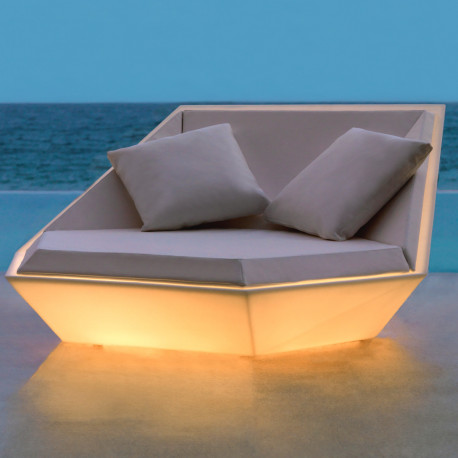 Outdoor Daybed Ulm Daybed, Vondom Lumineux Led Blanc, 180x180x90cm