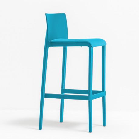 Lot de 2 Tabourets de bar Volt 678, Pedrali bleu, hauteur d'assise 76,5 cm