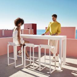 Table haute Frame Aluminium, Vondom, blanc laqué, plateau HPL blanc intégral, 200x60x105 cm