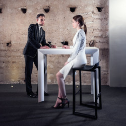 Table haute Frame Aluminium, Vondom, blanc laqué, plateau HPL blanc, 160x60x105 cm