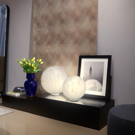 Lampe ronde Mineral, Slide Design marbré gris, Diamètre 40 cm