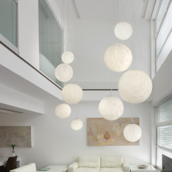 Suspension Mineral Chandelier, Slide design, marbré gris