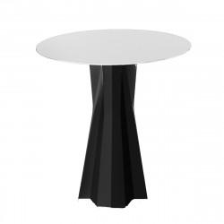 Table Frozen, pied noir, plateau HPL blanc diamètre 80cm, Plust