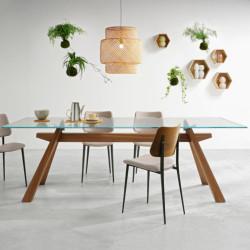 Table Zeus, Midj plateau verre , pieds bois 250cm x106 cm
