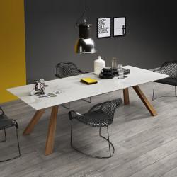 Table Zeus LG, Midj plateau céramique marbre , pieds bois 250cm x100 cm
