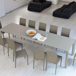 Table Ghedi avec rallonge, Midj plateau mélaminé Sable, pieds acier 140/190/240/290 x 90 cm