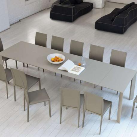 Table Ghedi avec rallonge, Midj plateau mélaminé Sable, pieds acier 160/210/260/310x90cm