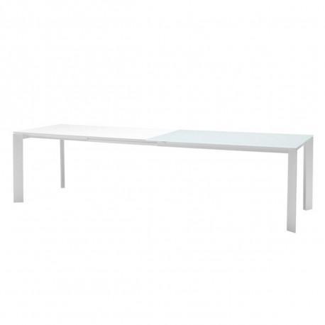 Table Ghedi avec rallonge, Midj plateau en verre extra-blanc, pieds acier 140/190/240/290 x 90 cm