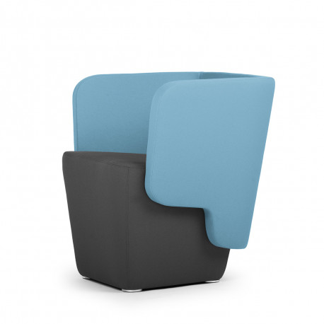Fauteuil Wrap, True design, dossier bleu, assise marron