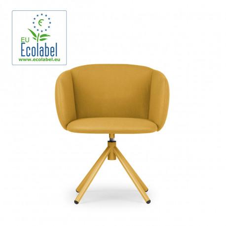 Fauteuil design pivotant Not, True design assise et pieds moutarde