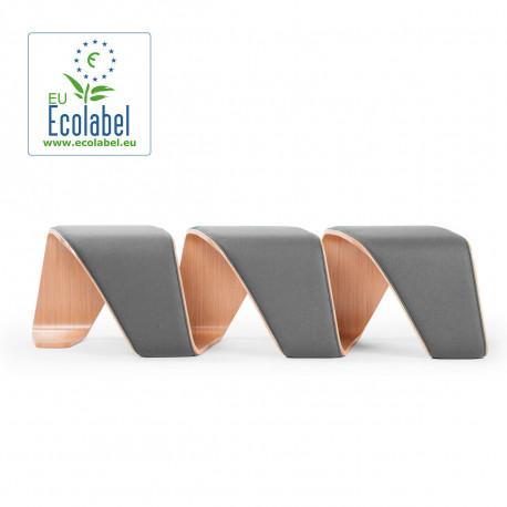 Banc design DNA, True design, 3 places chêne naturel, revêtement gris