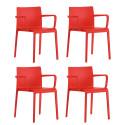Lot de 4 Chaises avec accoudoirs Volt 675, Pedrali, rouge