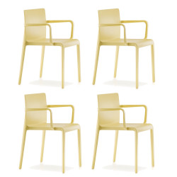 Lot de 4 Chaises avec accoudoirs Volt 675, Pedrali, jaune