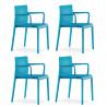 Lot de 4 Chaises avec accoudoirs Volt 675, Pedrali, bleu