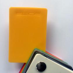Mange-debout carré Hoplà, Slide jaune 69x69xH110 cm
