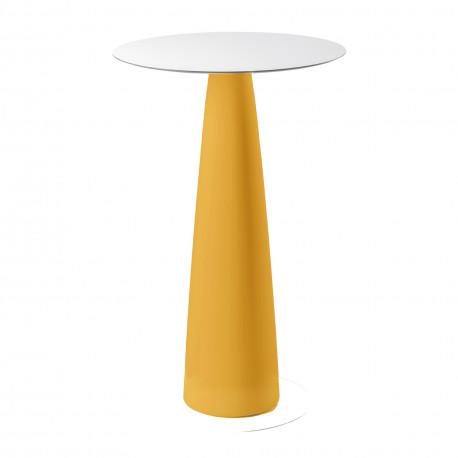 Mange-debout rond Hoplà, Slide design jaune D79xH110 cm