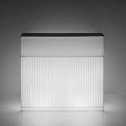 Bar Cordiale lumineux, module droit, coloris blanc, Slide Design, L120 x P70 x H110 cm