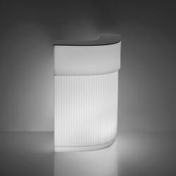 Bar Cordiale Corner lumineux, module d\'angle, coloris blanc, Slide Design, L70 x P70 x H110 cm