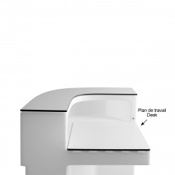Plan de travail Cordiale Corner Desk, HPL blanc, pour module d'angle de bar Cordiale, Slide Design