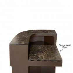 Plan de travail Cordiale Corner Desk, HPL effet Veneto Impérial, pour module d\'angle de bar Cordiale, Slide Design