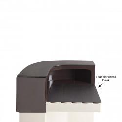 Plan de travail Cordiale Corner Desk, HPL effet bois wengé, pour module d\'angle de bar Cordiale, Slide Design