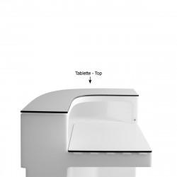 Tablette Cordiale Corner Top, HPL blanc, pour module d\'angle de bar Cordiale, Slide Design