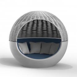 Ulm Moon Daybed, lit de soleil cocoon, Vondom, structure argent, coussins bleu Galan 1025, capote grise, 218x199xH205cm