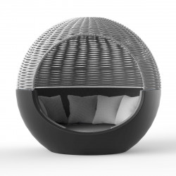 Ulm Moon Daybed, lit de soleil cocoon, Vondom, structure anthracite, coussins Anthracite 1044, capote grise, 218x199xH205cm