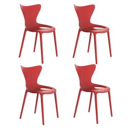 Lot de 4 Chaises Love, Vondom rouge
