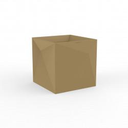 Pot Faz carré, design à facettes 40x40xH40 cm, Vondom beige
