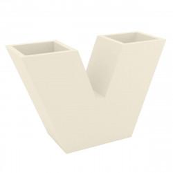Pot de fleurs haut UVE, forme V 120x40xH80 cm, double paroi, Vondom écru