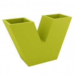Pot de fleurs haut UVE, forme V 120x40xH80 cm, double paroi, Vondom vert pistache