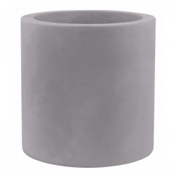 Très grand pot Cylindrique gris argent, simple paroi, Vondom, Diamètre 120 x Hauteur 100 cm