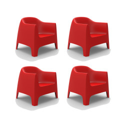 Set de 4 Fauteuils Lounge Solid, Vondom rouge