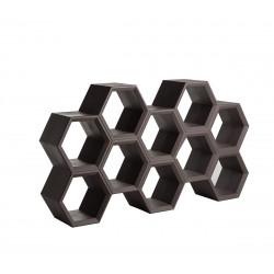 Etagère alvéoles nid d\'abeilles Hexa, marron chocolat