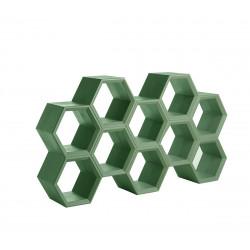 Etagère alvéoles nid d\'abeilles Hexa, vert sauge