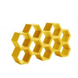Etagère alvéoles nid d\'abeilles Hexa, jaune safran