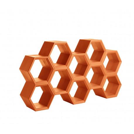 Etagère alvéoles nid d'abeilles Hexa, orange