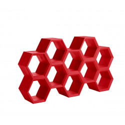 Etagère alvéoles nid d\'abeilles Hexa, rouge