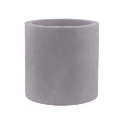 Pot de fleur Cylindrique gris argent, simple paroi, Vondom, Diamètre 60 x Hauteur 60 cm