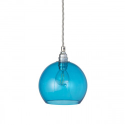 Suspension Rowan Bleu Piscine, diamètre 15,5 cm, Ebb & Flow, douille et câble argents