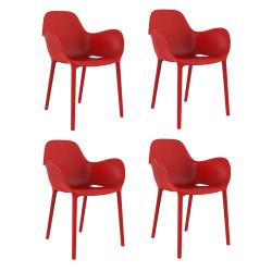 Set de 4 chaises Sabinas, Vondom rouge