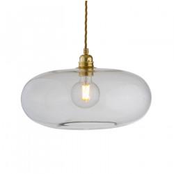 Luminaire suspension verre soufflé Horizon Transparent, diamètre 36 cm, Ebb & Flow, douille et câble dorés