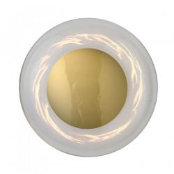 Applique plafonnier verre soufflé Horizon Transparent, diamètre 29 cm, Ebb & Flow, centre métal doré