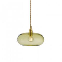 Petite suspension verre soufflé Horizon Vert olive, diamètre 21 cm, Ebb & Flow, douille et câble dorés
