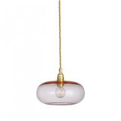 Petite suspension verre soufflé Horizon Corail, diamètre 21 cm, Ebb & Flow, douille et câble dorés