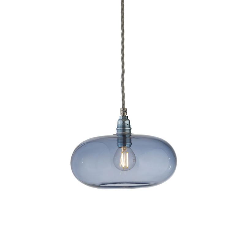 Petite suspension verre soufflé Horizon Bleu Abysse, diamètre 21 cm, Ebb & Flow, douille et câble argentés
