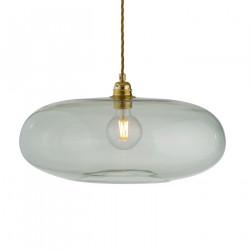 Luminaire verre soufflé Horizon Vert forêt, diamètre 45 cm, Ebb & Flow, douille et câble dorés