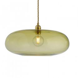 Luminaire verre soufflé Horizon Vert olive, diamètre 45 cm, Ebb & Flow, douille et câble dorés